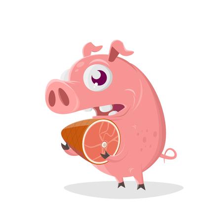 Funny cartoon illustration of a pig holding a ham