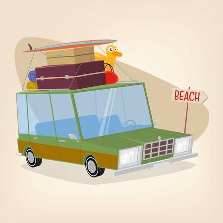 Funny cartoon car Stock Illustratie