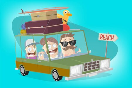 Funny illustration of a cartoon family in a vacation car