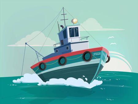Funny cartoon illustration of a fishing boat Stock Illustratie