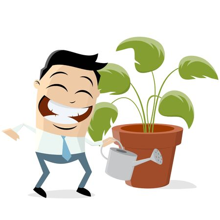 Funny asian businessman with houseplant