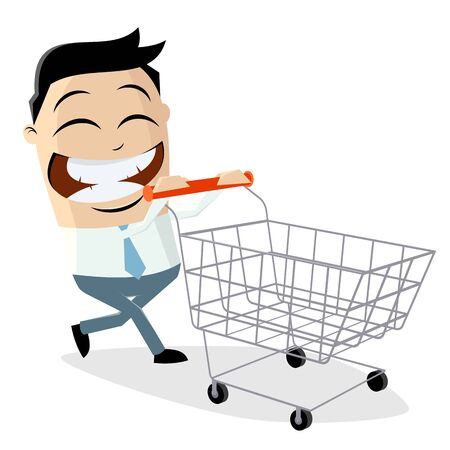 Happy asian businessman with empty shopping cart Stock Illustratie