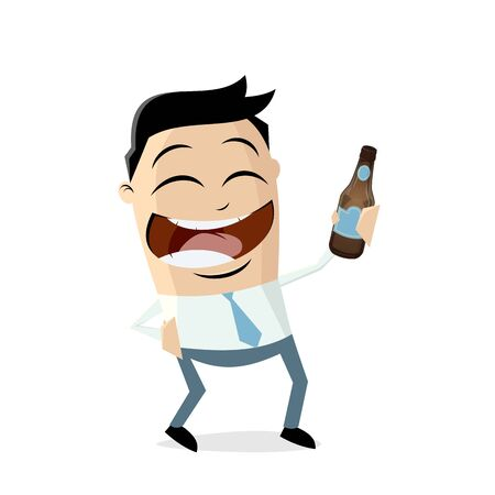Happy asian businessman with a bottle of beer closing work Stock Illustratie
