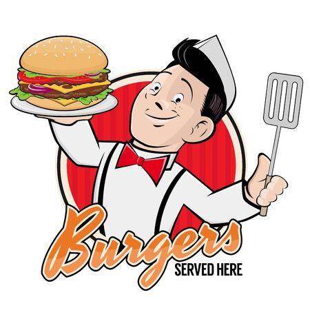 Chef feliz sirviendo un letrero de deliciosa hamburguesa Ilustración de vector