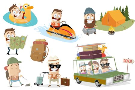 Funny vacation related cartoon man collection