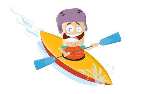 Hombre de divertidos dibujos animados usando un kayak