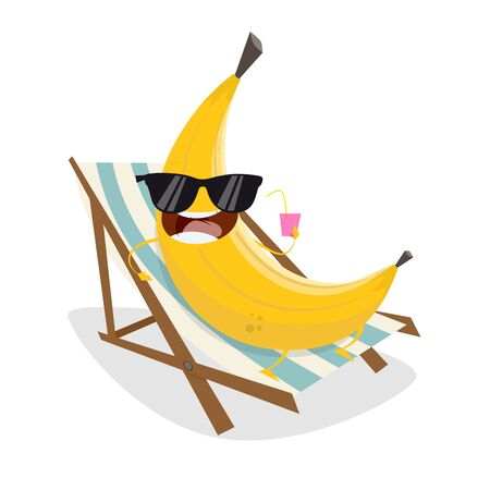funny cartoon banana relaxing on sunbed Stockfoto - 127521423