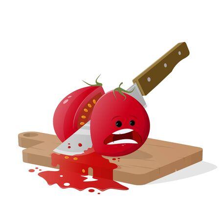 Cartoon tomato cut by kitchen knife Stock Illustratie