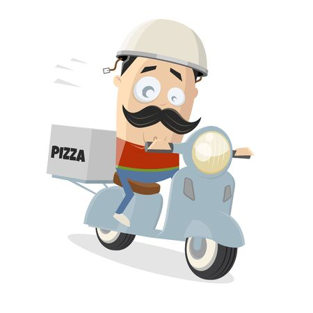 Cartoon illustration of a pizza delivery guy with a scooter