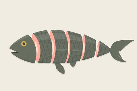 Cartoon illustration of a fish in slices Stockfoto - 127806566