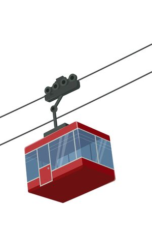 stylized vector illustration of an isolated cableway gondola Stockfoto - 128471743