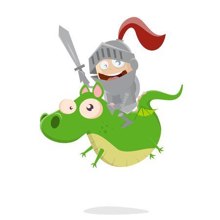 Funny cartoon boy riding on a cute dragon
