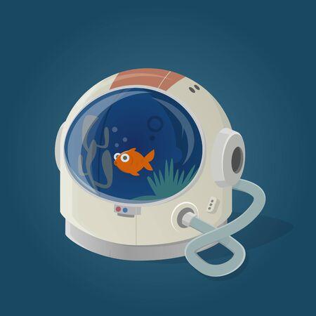 funny cartoon illustration of a astronaut helmet used as aquarium