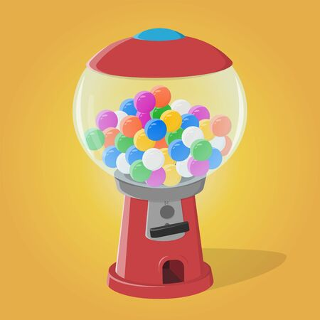 Funny cartoon illustration of a gumball machine Vectores