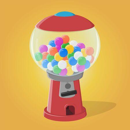 Funny cartoon illustration of a gumball machine Illustration