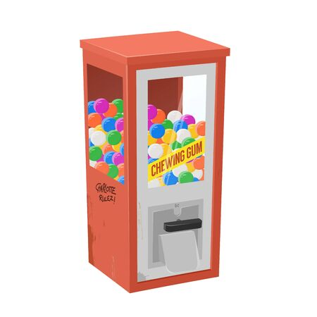 Funny cartoon illustration of a gumball machine Ilustracja