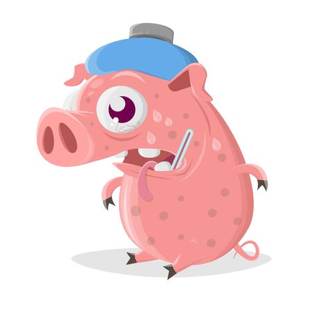 Funny cartoon pig has the flu Ilustracja