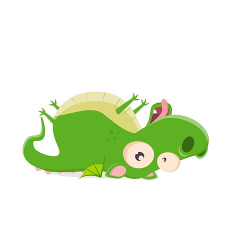 Funny cartoon illustration of a dragon lying on his back Ilustração