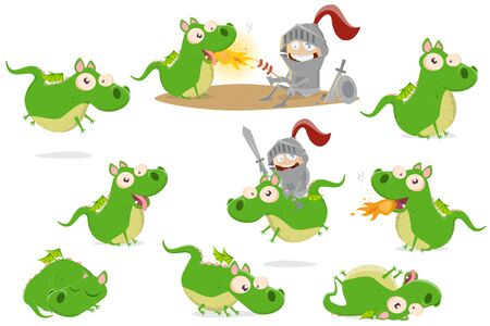 Big collection of funny cartoon dragon in different situations