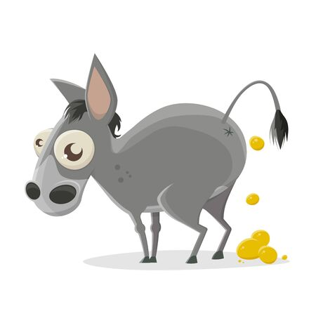 Funny cartoon illustration of a donkey producing gold nuggets
