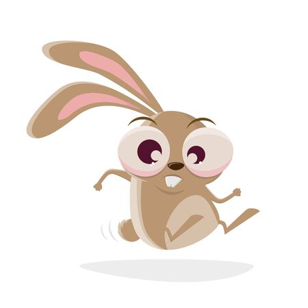 Funny cartoon illustration of a crazy rabbit hopping