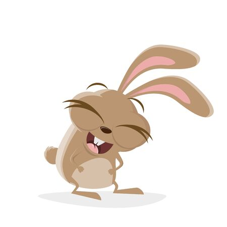 Funny cartoon illustration of a laughing rabbit
