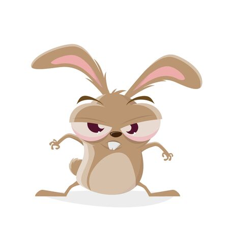 Funny cartoon illustration of a mad rabbit