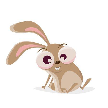 Funny cartoon illustration of a crazy rabbit sitting on the floor Illustration