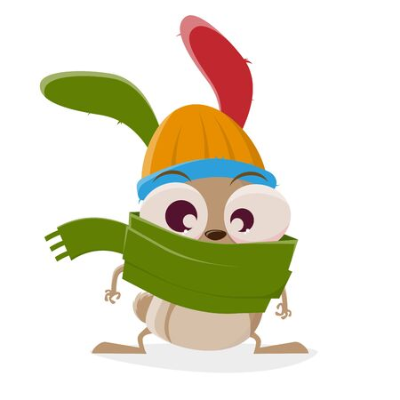 Funny cartoon illustration of a crazy rabbit with hat and scarf