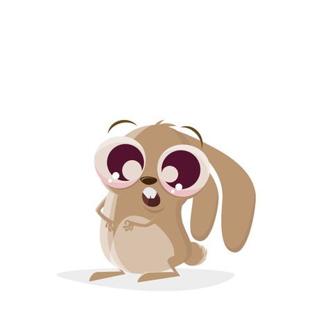 Funny cartoon illustration of a cute cartoon rabbit