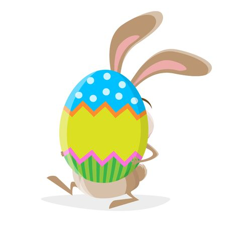 Funny cartoon illustration of a crazy rabbit with big easter egg
