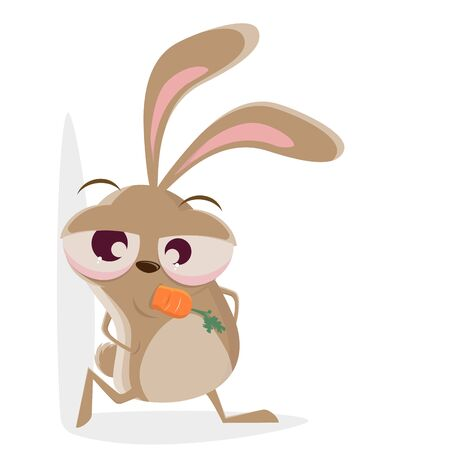 Funny cartoon illustration of a cool rabbit Ilustração