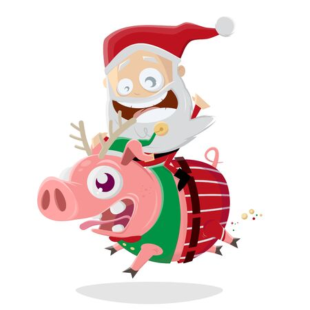 Funny santa claus riding on a crazy christmas pig
