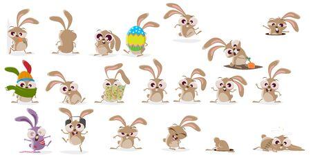 Gran colección de dibujos animados de un conejo loco en diferentes situaciones.