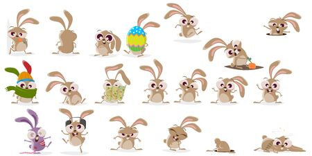 Large cartoon collection of a crazy rabbit in different situations Çizim