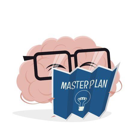 Funny cartoon brain is reading the masterplan Stock Illustratie