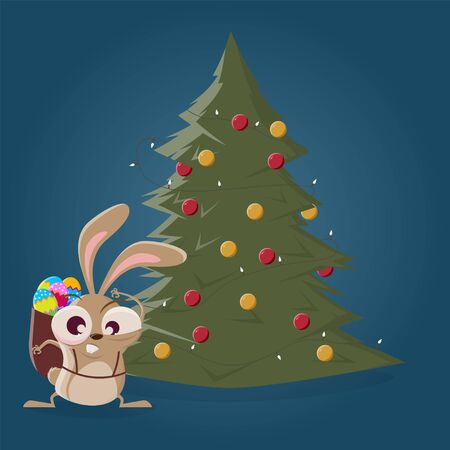 Funny cartoon easter bunny standing in front of a christmas tree