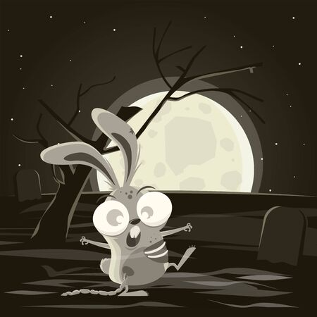 Cartoon zombie bunny walking at a cemetery Illustration