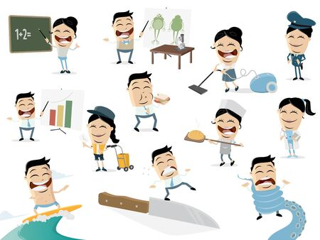 Funny cartoon collection of asian people in various situations Ilustracja