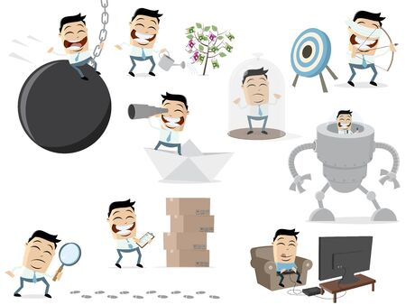 Funny cartoon collection of an asian businessman in various situations
