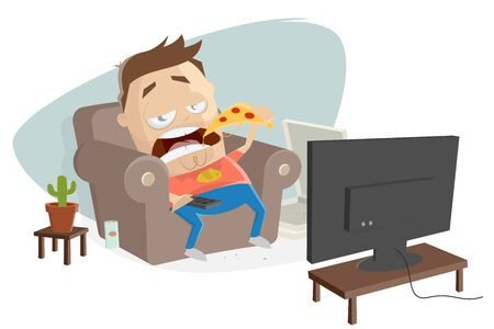 Fat cartoon guy eats pizza and watches tv