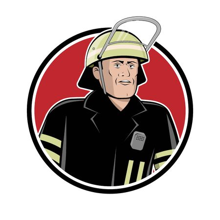 Firefighter sign vector illustration in retro cartoon style