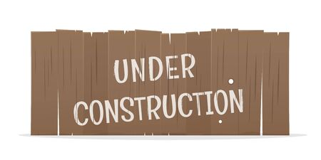 Funny cartoon illustration of a wooden fence with text under construction