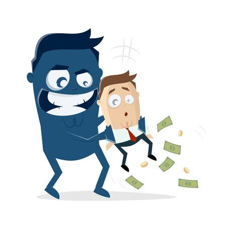 Big blue man taking the money from a businessman  イラスト・ベクター素材
