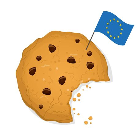 Eu cookie law cartoon illustration with ask cookie and eu flag Ilustrace