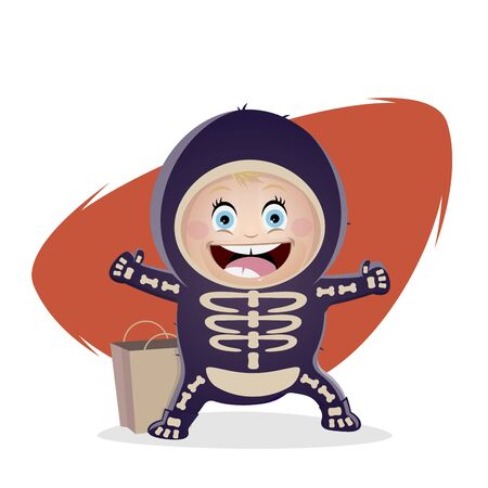 Funny cartoon illustration of a cute baby girl in halloween costume