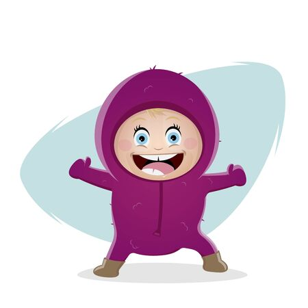 Funny cartoon illustration of a cute baby girl in winter outfit