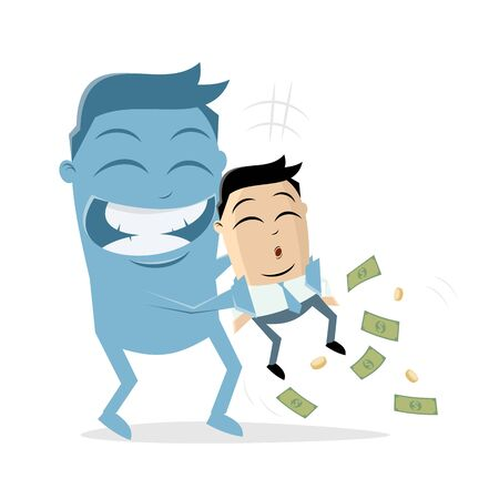 big blue man taking the money of an asian businessman Ilustrace