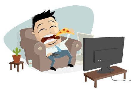 fat asian businessman eats pizza and watches tv