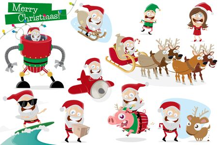 funny collection of cartoon santa claus in different situations Illustration